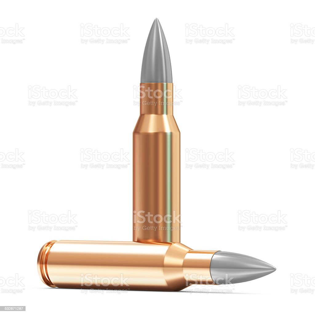 Rifle Bullet isolated on white background stock photo