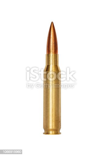 A rifle bullet over white background