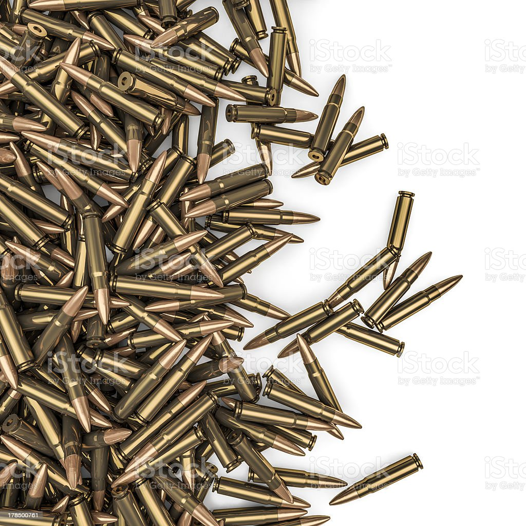Rifle bullets spill stock photo