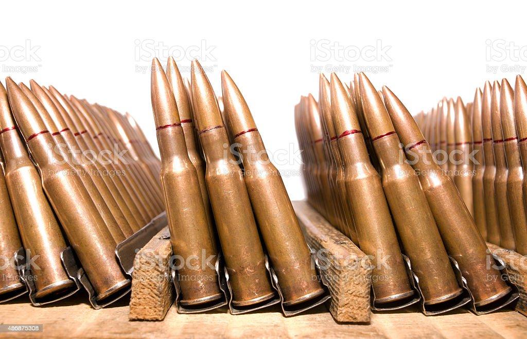Rifle cartridges stock photo