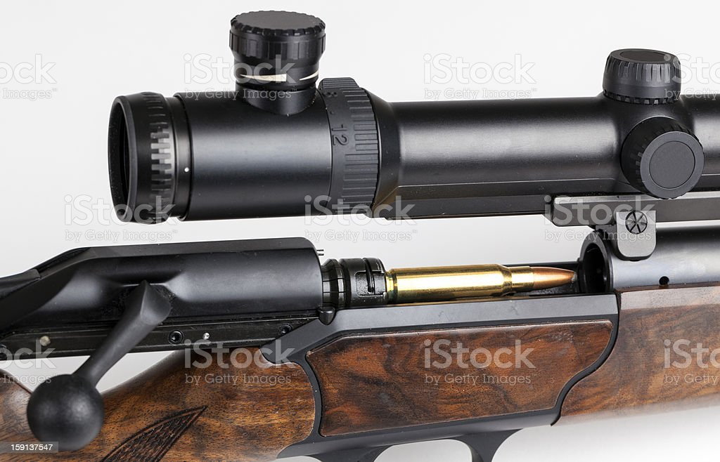 Rifle detail  with cartridge royalty-free stock photo