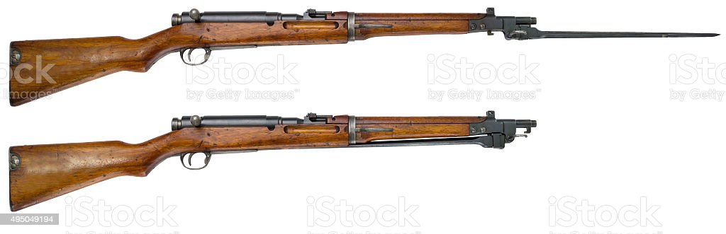 Rifle guns on a white background Russian weapons stock photo
