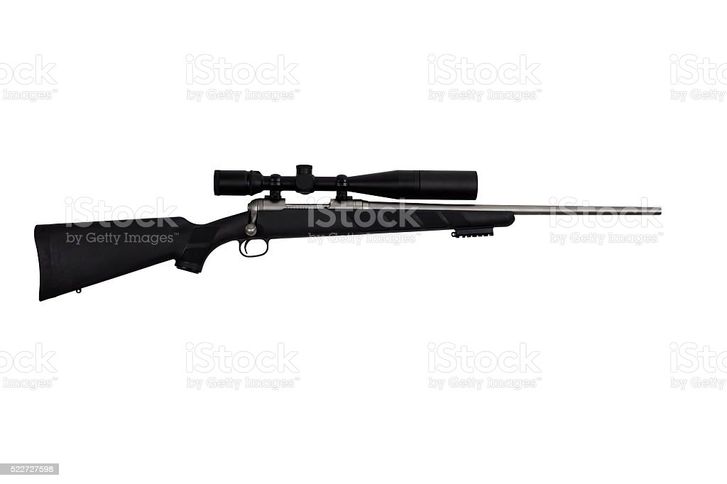 Rifle high power tactical sniper weapon and long range scope stock photo