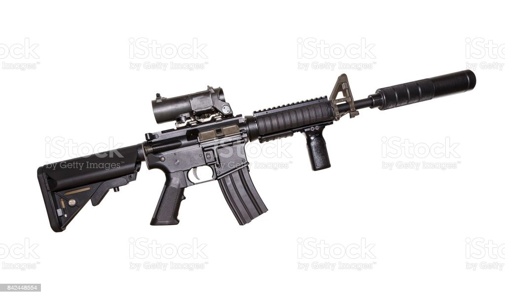 M15A4 Rifle Isolated on White Background. Rifle of the Armed Forces. Assault Rifle. Military Gun stock photo