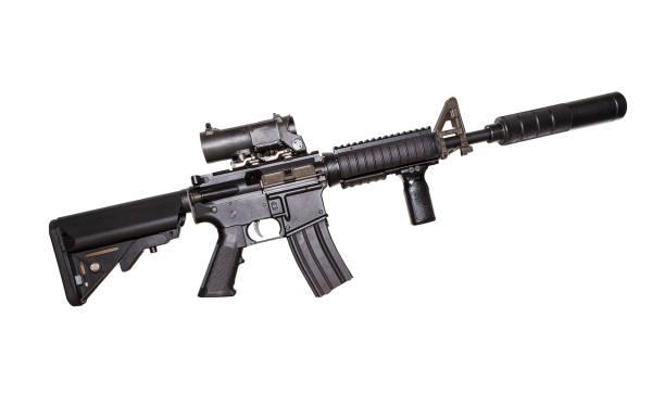 흰색 배경에 고립 m15a4 소총입니다. 무장 세력의 소총입니다. 소총입니다. 군사 총 - 무기 뉴스 사진 이미지