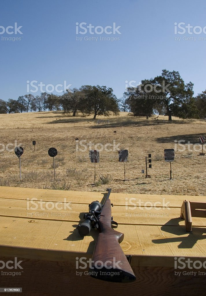 Rifle on a shooting bench royalty-free stock photo