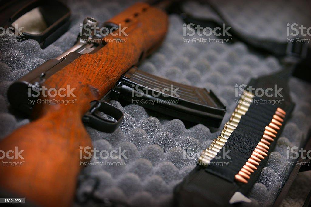 Rifle on Eggcrate stock photo
