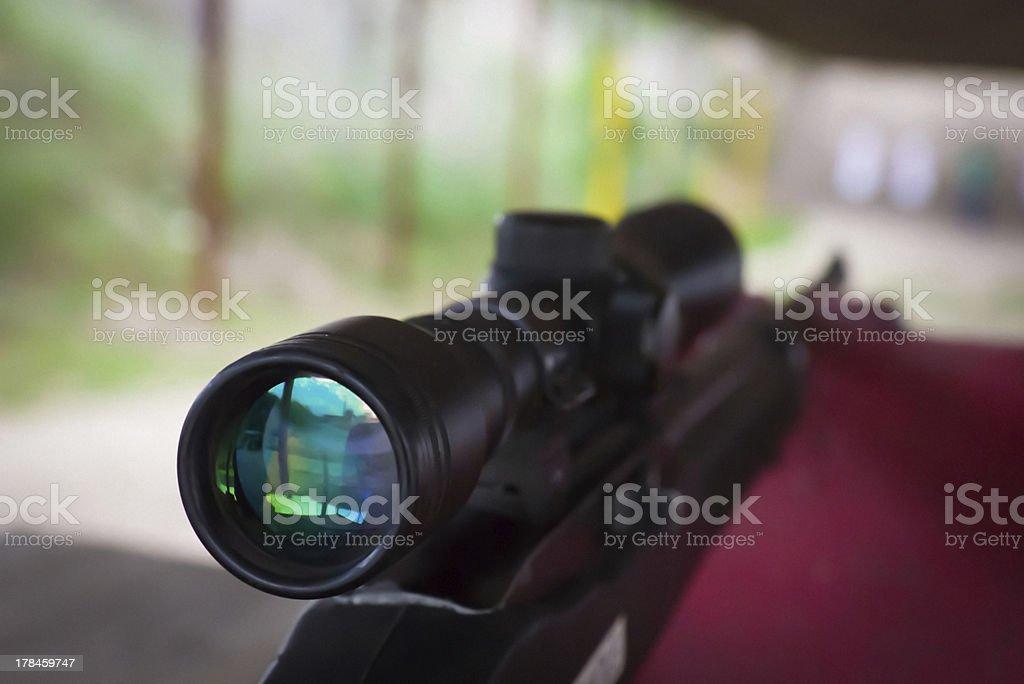 Rifle scope on AR22 rifle stock photo