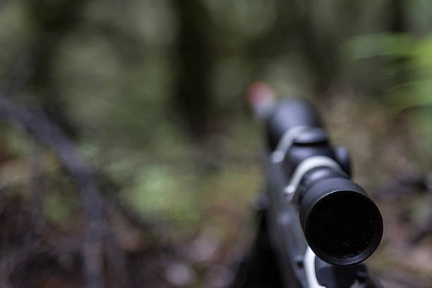 Rifle scope Rifle scope, Kaimanawa Ranges, New Zealand. ambush stock pictures, royalty-free photos & images