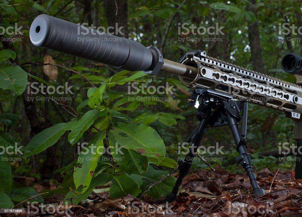 Rifle silencer stock photo