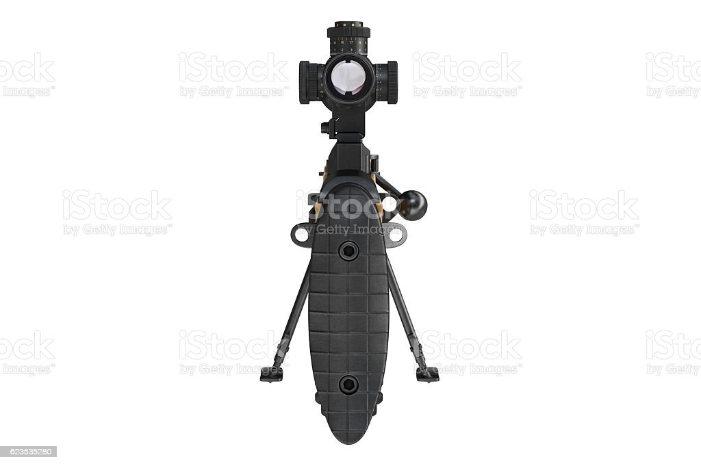 Rifle sniper military gun, back view stock photo
