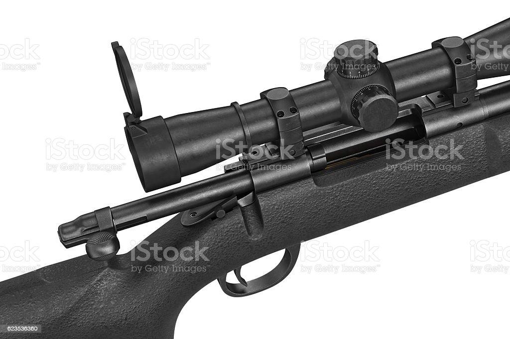 Rifle sniper scope equipment, close view stock photo