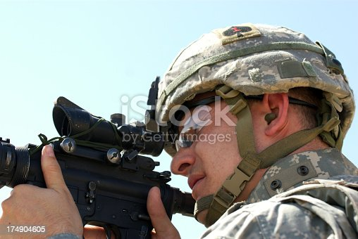 Soldier firing M-4 Carbine in Ramadi, Iraq.