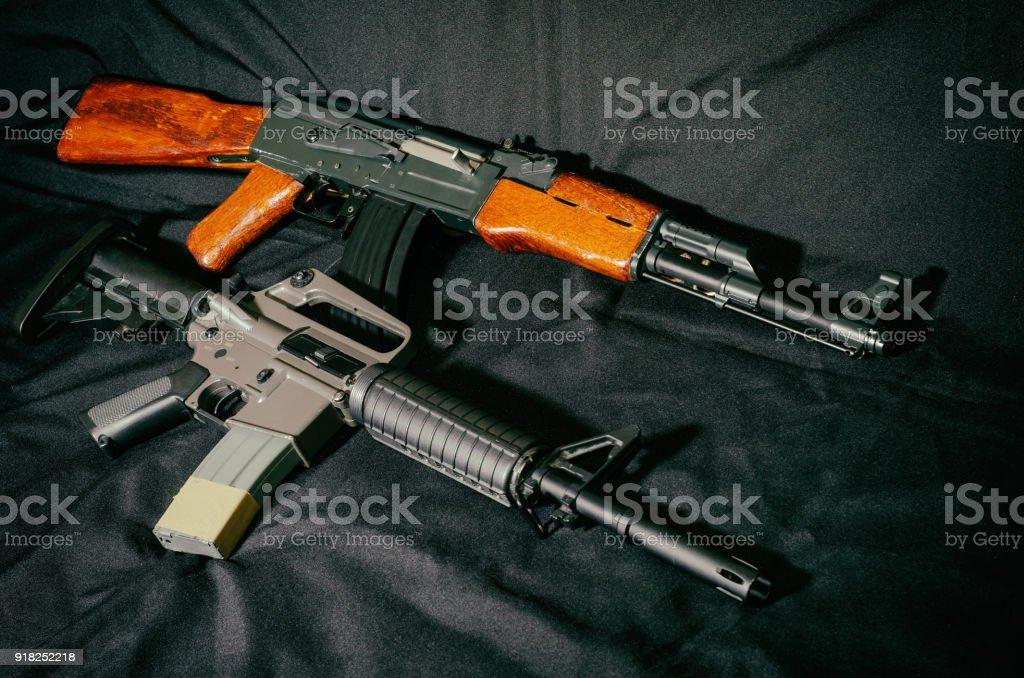 USA rifle versus soviet union rifle stock photo