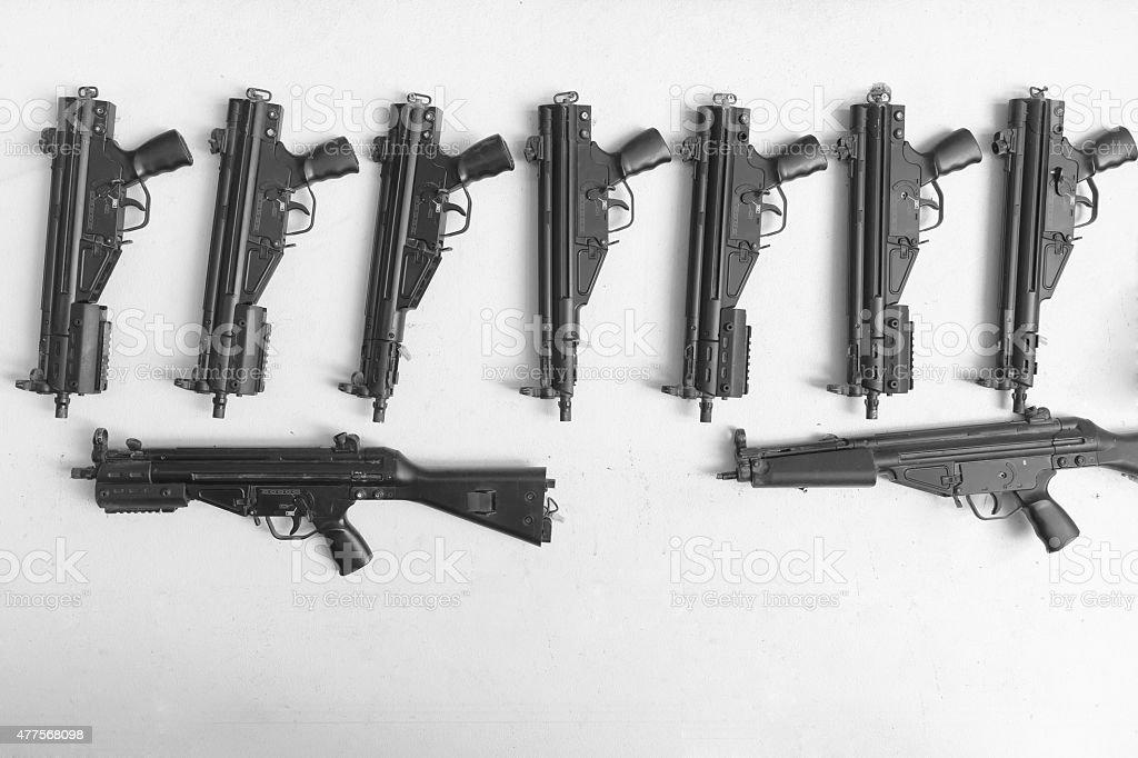 rifles gun on wall stock photo