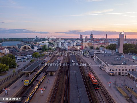 istock Riga central train station during beautiful sunset. 1133418817