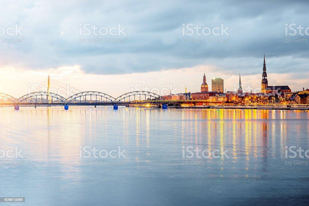 Riga cityscape night view stock photo
