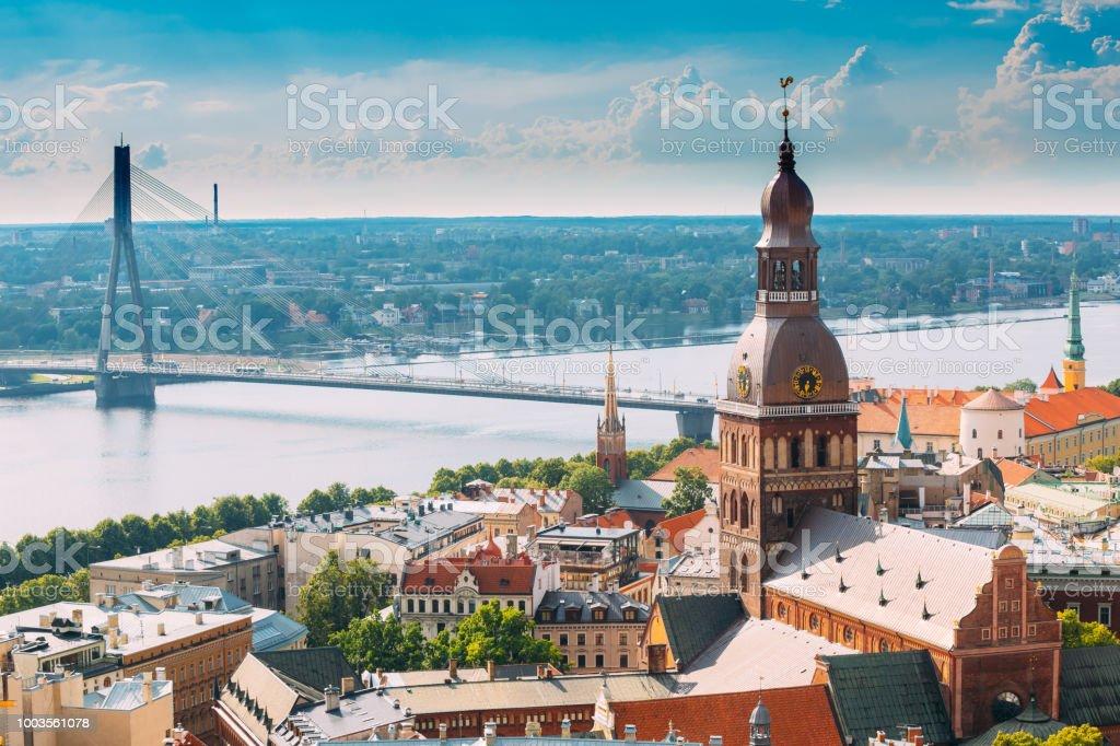Riga, Latvia. Cityscape In Sunny Summer Day. Famous Landmark - Riga Dome Cathedral stock photo
