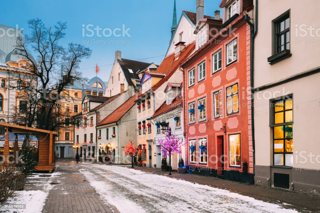 Riga, Latvia. Decorated Facades Of Old Houses On Meistaru Street In Evening. Winter New Year Holiday Season stock photo