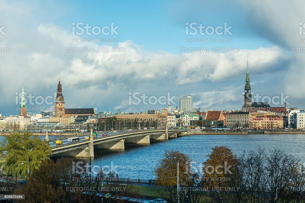 Riga Old Town, beautiful view over the city at daytime zbiór zdjęć royalty-free