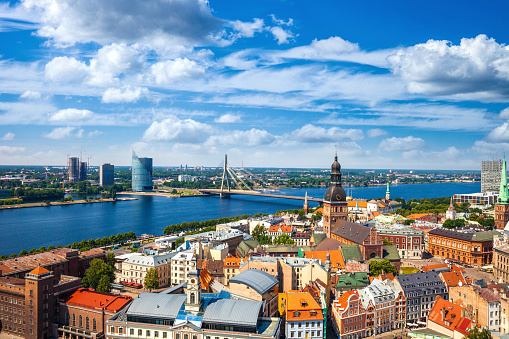 Riga Old Town, beautiful view over the city