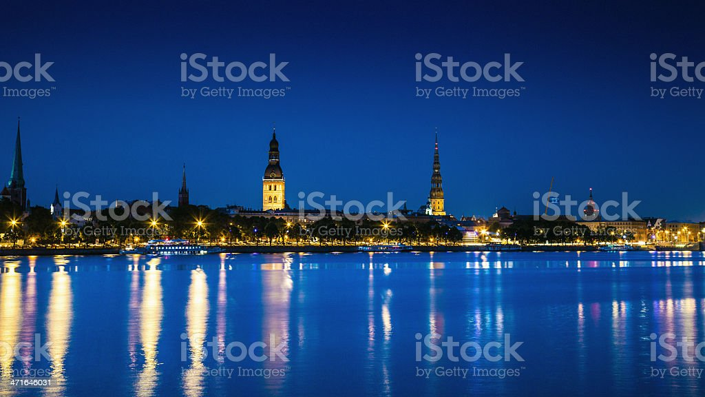 Riga Old Town by night royalty-free stock photo