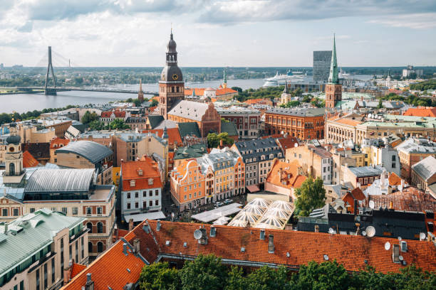 Riga old town panoramic view from St. Peter's Church observatory in Latvia stock photo