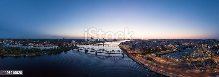 Aerial view from drone on Riga Central market located in the city center next to the Daugava river