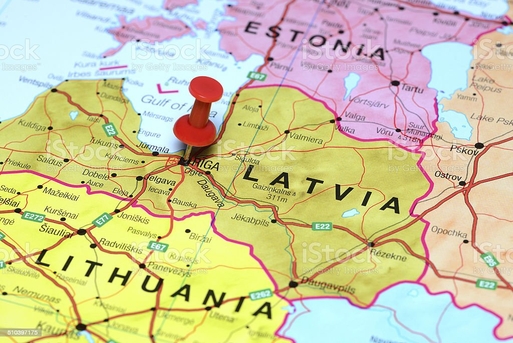 Riga pinned on a map of europe stock photo
