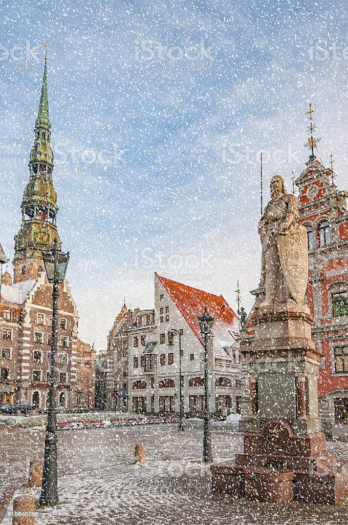 Riga Snow Starts Falling stock photo