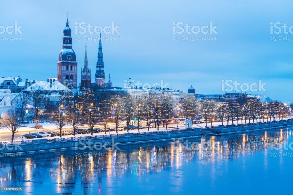 Riga towers in winter stock photo
