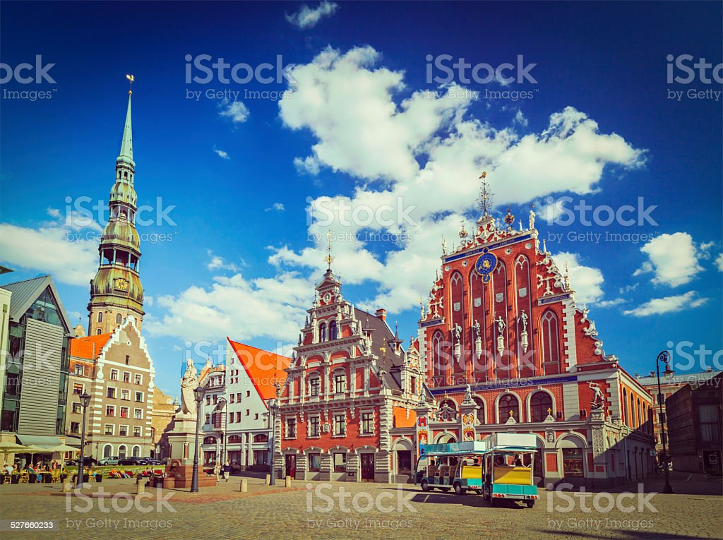 Riga Town Hall Square, House of the Blackheads stock photo