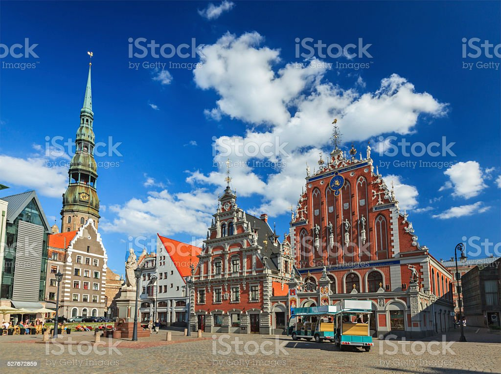 Riga Town Hall Square, House of the Blackheads royalty-free stock photo