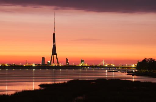 Riga TV tower upon Daugava river in Zakusala island