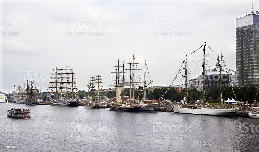 Riga.Sailing vessels of the international regatta in port. royalty-free stock photo