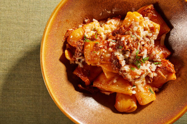 Rigatoni pasta Pasta dish with meat rigatoni stock pictures, royalty-free photos & images
