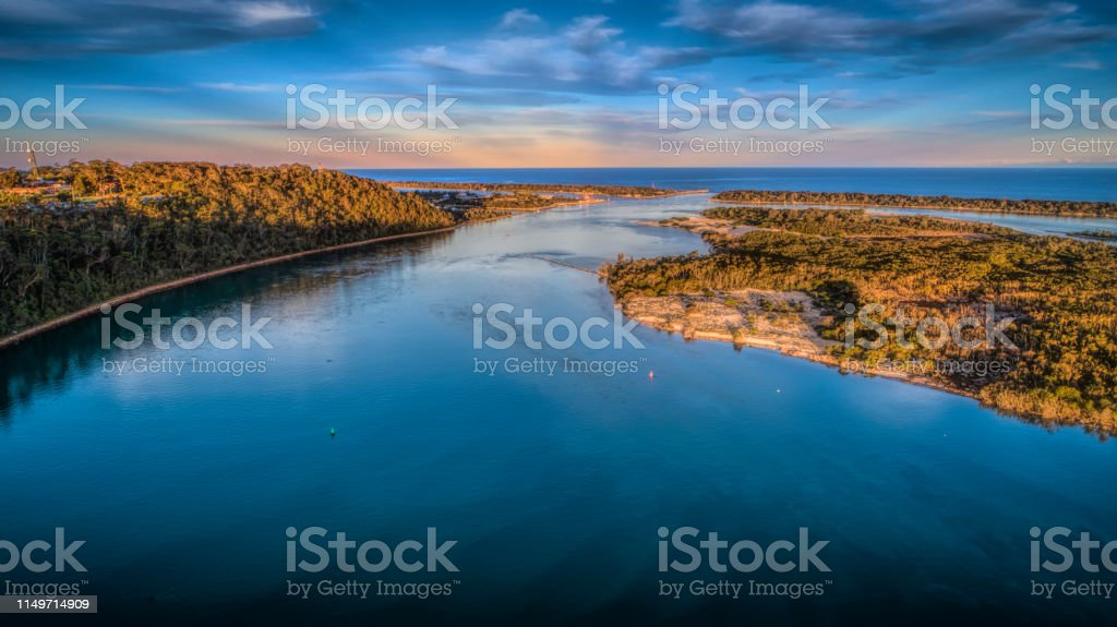 Rigby Island Lakes Entrance - Royalty-free Aerial View Stock Photo