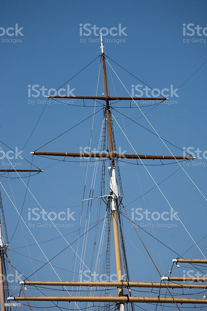 Rigging of a square rigger royalty-free stock photo