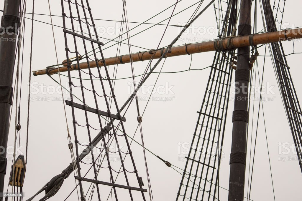 rigging of an old sailing ship up close stock photo