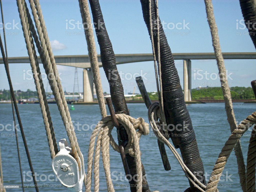 Rigging of sailing barge stock photo