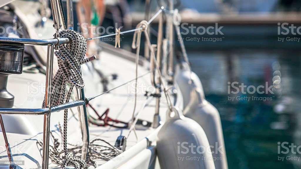 Rigging of sailing yachts, ropes and details. royalty-free stock photo