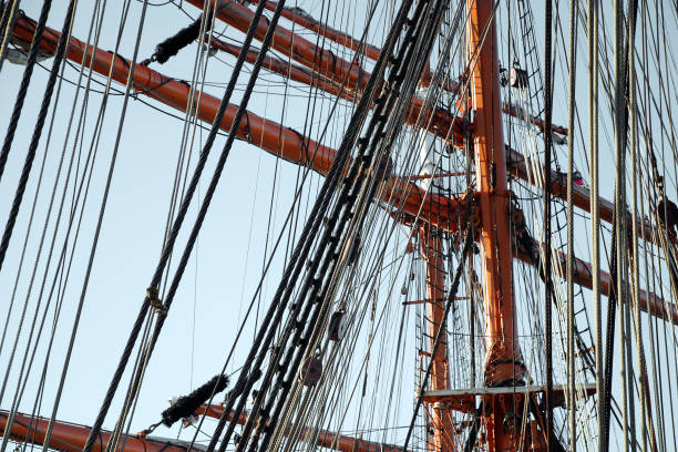 rigging on sailboat wooden mast and rigging on vintage sailing boat rigging stock pictures, royalty-free photos & images