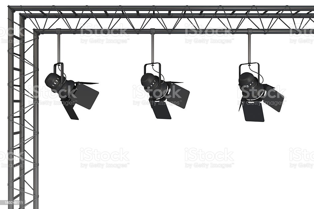 A rigging with 3 stage lights hanging from it royalty-free stock photo