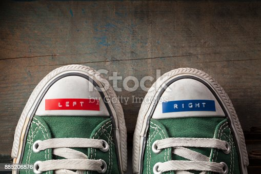 Right and left shoes.