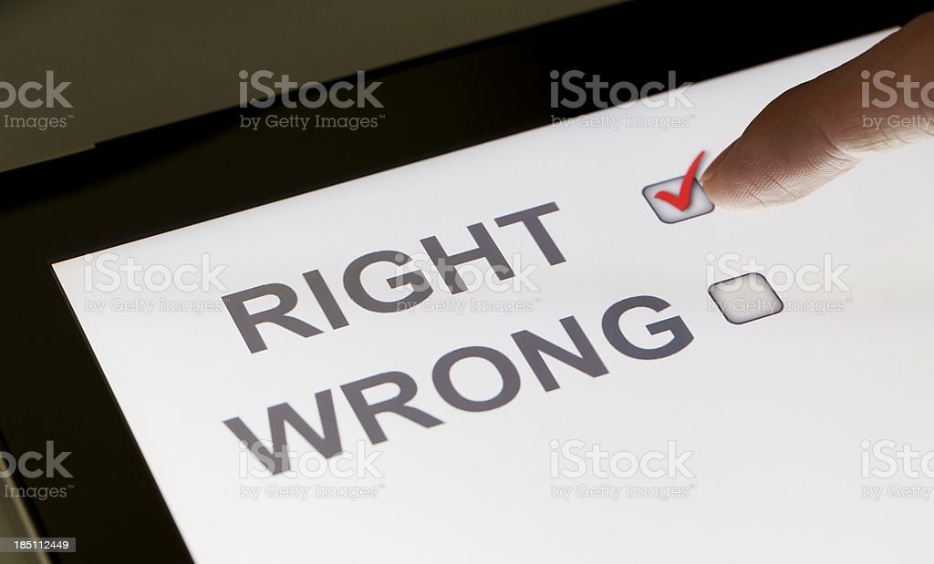 Right and wrong checkboxes on a tablet royalty-free stock photo