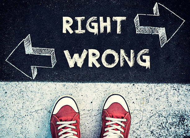 Right and wrong dilemma stock photo