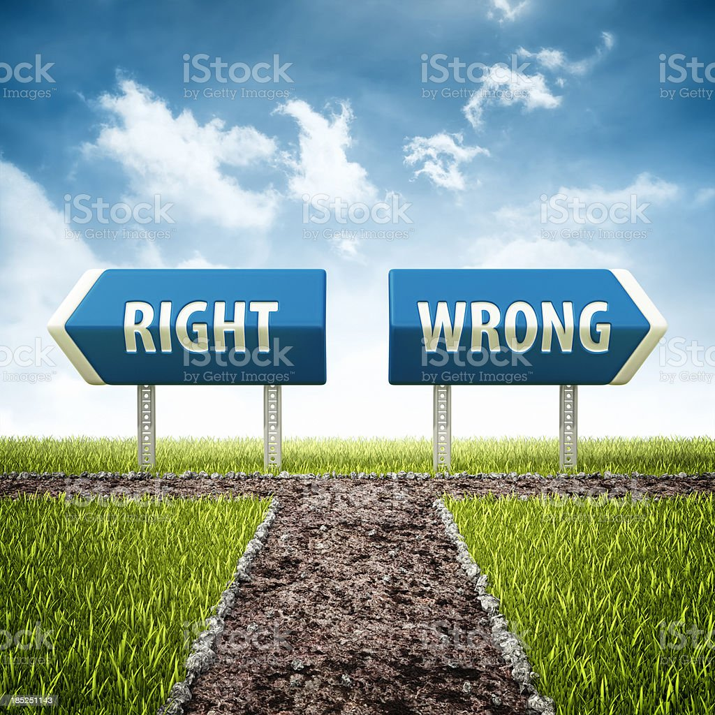 right and wrong evil crossroad royalty-free stock photo