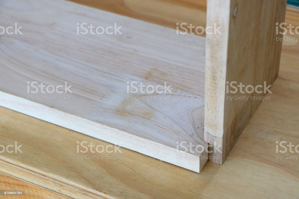 Right angle wood joint stock photo