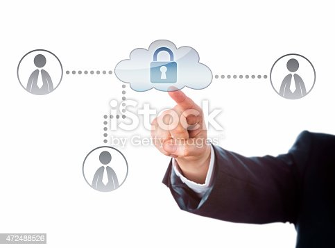 istock Right Arm Reaching To A Locked Cloud Network Icon 472488526