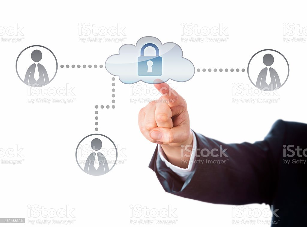 Right Arm Reaching To A Locked Cloud Network Icon stock photo